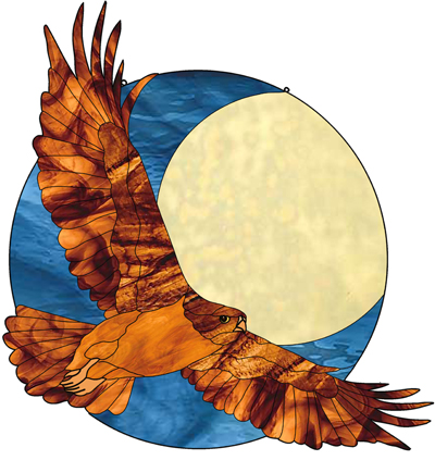 Midnight hawk, bird, eagle, flying moon stained glass pattern